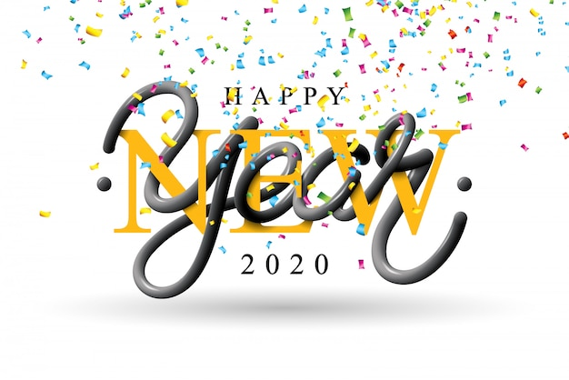 2020 happy new year illustration with 3d typography lettering and falling confetti on white background