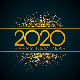 2020 happy new year illustration with gold number and falling confetti on black background.