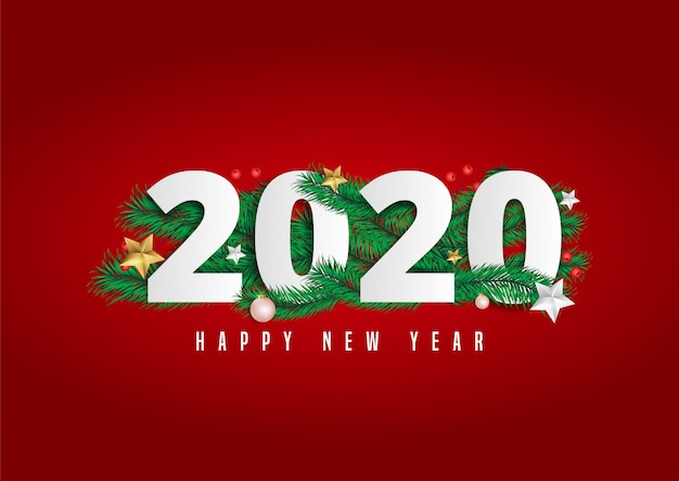 2020 happy new year lettering decorated with pine leaves and berries.