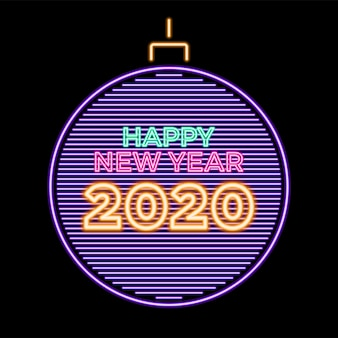 2020 happy new year luminous neon in christmas ball