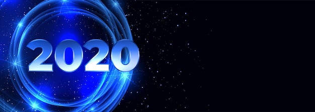 2020 happy new year neon blue banner