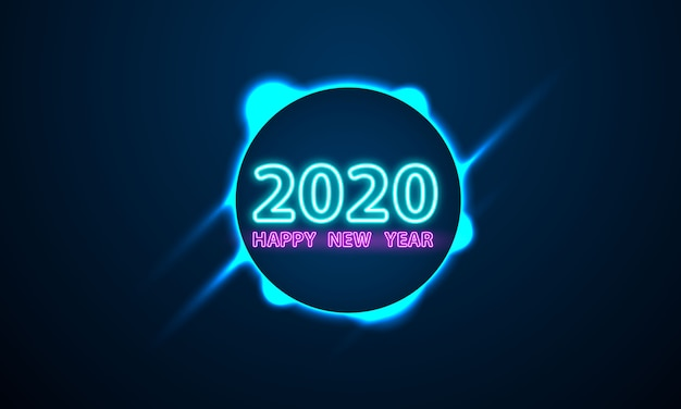 2020 happy new year neon text.