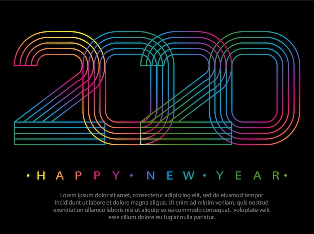 2020 happy new year. numbers minimalist style.  linear numbers.   greeting card.