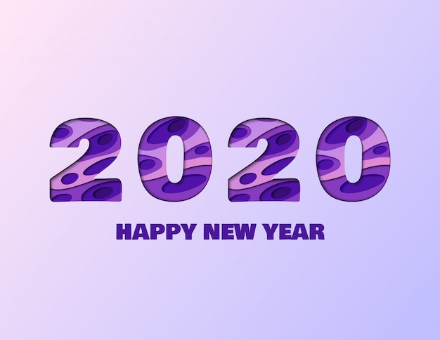 2020 happy new year paper cut poster
