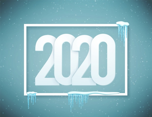 2020 happy new year poster decorated with realistic snow and icicles .