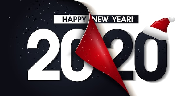 2020 happy new year promotion poster or banner with open gift wrap paper