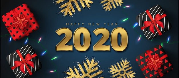 2020 happy new year sale lettering, gift boxes, gold snowflakes and sparkling light garlands