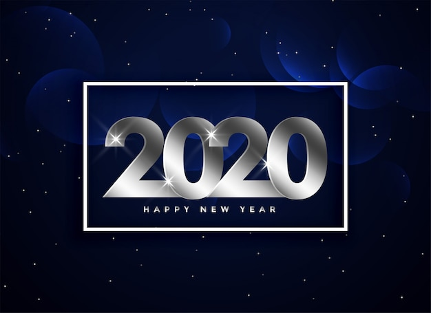 2020 happy new year silver greeting background