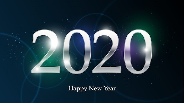 2020 happy new year on technology abstract design