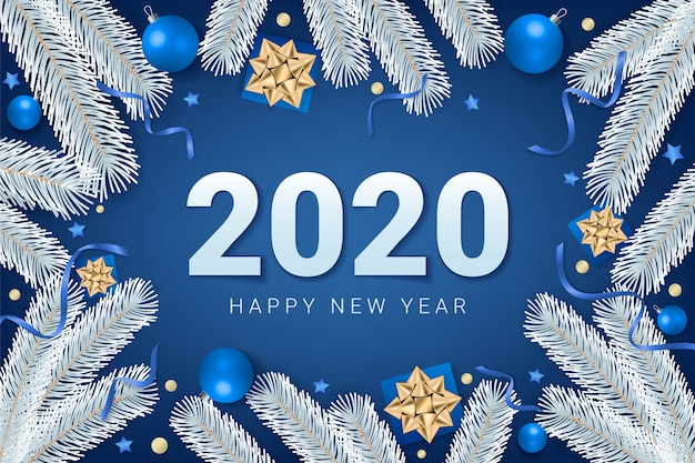 2020 happy new year text on blue background