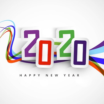 2020 happy new year text celebration card design