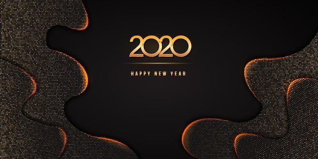 2020 happy new year text  with golden numbers on abstract black wavy