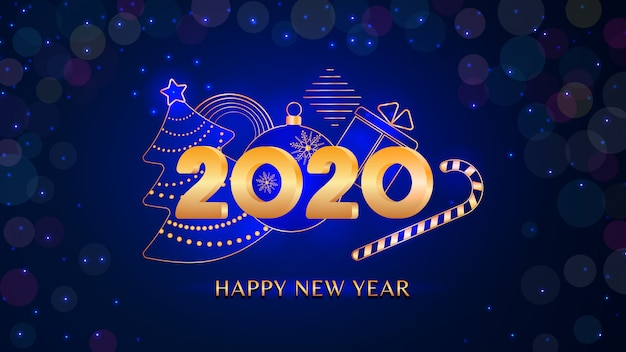 2020 happy new year text  with golden numbers on blue glitter bokeh light , holiday banner
