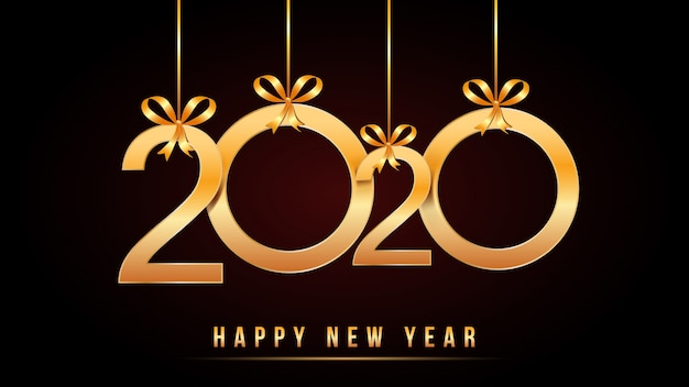 2020 happy new year text with golden numbers with hanging golden numbers and ribbon bows isolated on black