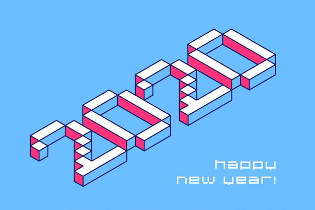2020 happy new year typography design. vector pixel numbers in perspective