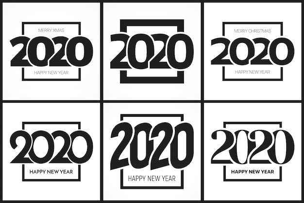 2020 happy new year typography templates set