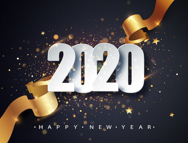 2020 happy new year vector background with golden gift ribbon, confetti and white numbers.