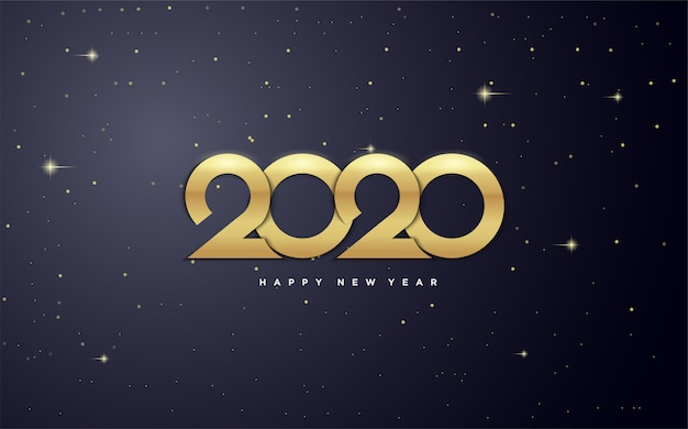 2020 happy new year   with gold figures in the   of the galaxy.