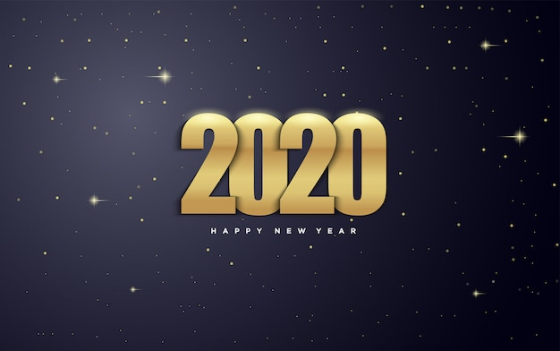 2020 happy new year   with gold figures and with illustrations of stars in the galaxy.