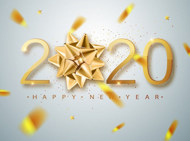 2020 happy new year   with golden gift bow, confetti, white numbers. winter holiday greeting card  template. christmas and new year posters