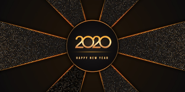 2020 с новым годом с золотыми цифрами на черном фоне праздника