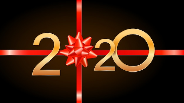 2020 happy new year with golden numbers, red ribbon and gift bow.