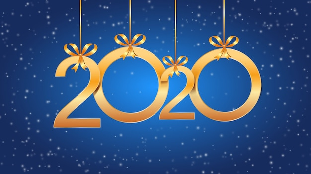 2020 happy new year with hanging golden numbers, ribbon bows and snow on blue