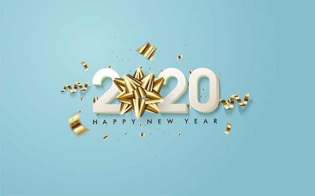 2020 happy new year with illustrations of white 3d figures and 3d golden ribbons on blue ocean