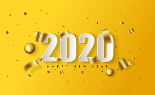 2020 happy new year with illustrations of white 3d figures and torn pieces of gold paper spread on yellow