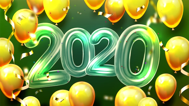 2020 гелиевых шаров и конфетти баннер