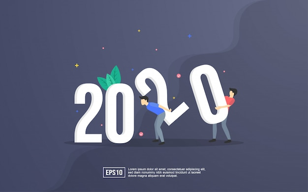 2020 illustration small people are preparing for the new year