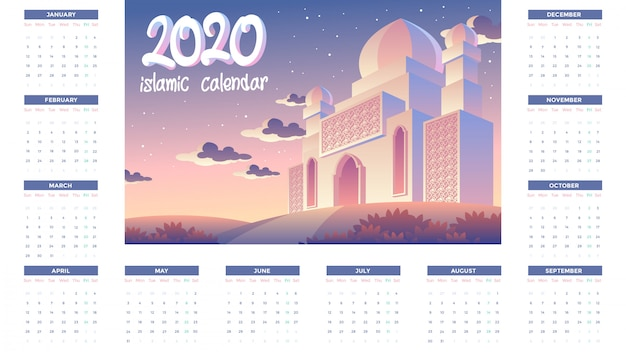 2020 islamic calendar with sunset in the evening