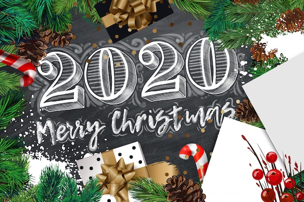 2020 merry christmas and happy new year banner