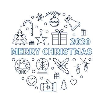 2020 рождеством круглый линейный рисунок