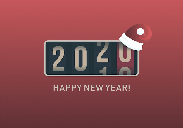 2020 new year. analog counter display with christmas santa hat, retro style design. vector illustration.