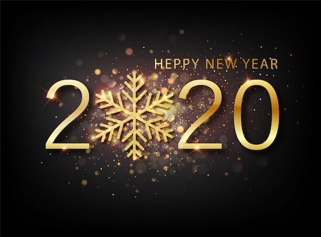 2020 new year background. holiday label with fallen golden glitter confetti over black backdrop.