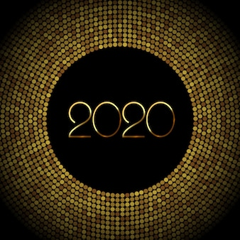 2020 new year background with gold glitter confetti