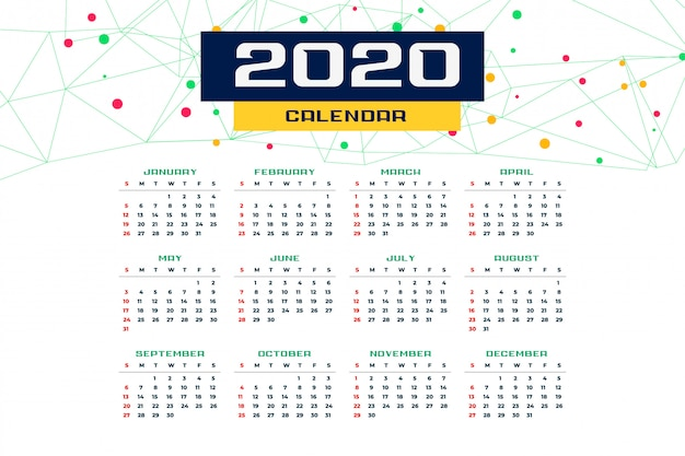2020 new year calender template