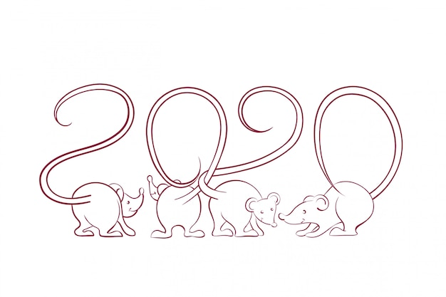 2020 new year card with mouse silhouettes with tails that intertwist in the form of numbers isolated