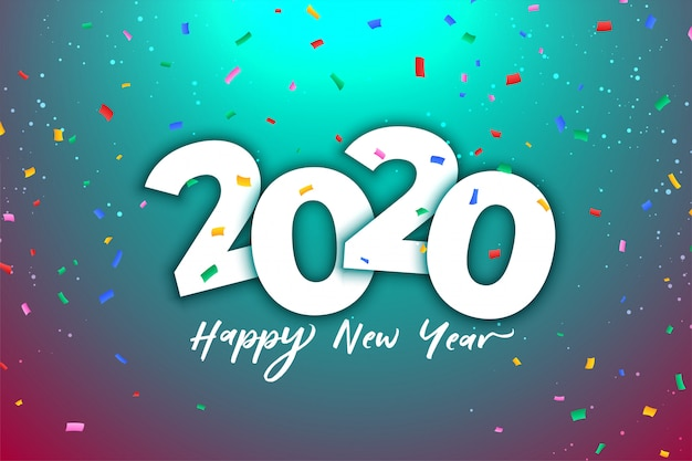 2020 new year celebration  with colorful confetti
