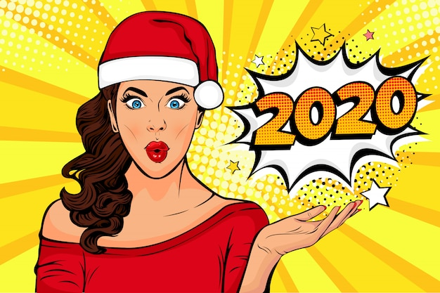 2020 new year comic book style postcard or greeting card with wow sexy young girl