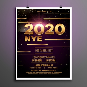2020 new year eve party golden flyer template