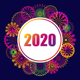 2020 new year, festive background with fireworks.