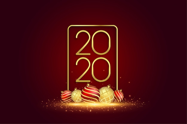 2020 new year greeting card with 3d christmas balls
