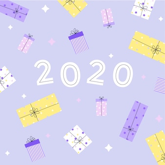 2020 new year greeting card with gift boxes. flat  illustration.