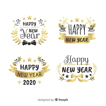 2020 new year label and badge collection