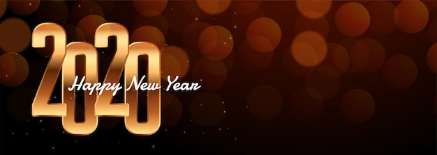 2020 new year lovely banner with bokeh