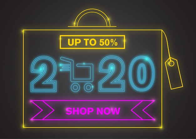 2020 new year mega sale with colorful neon light