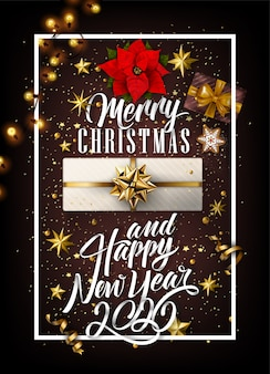 2020 new year and merry christmas background wth gifts and golden elements