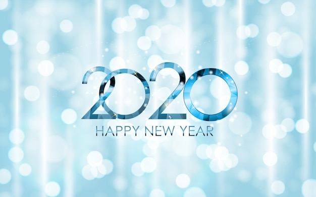 2020 new year and merry christmas greeting card